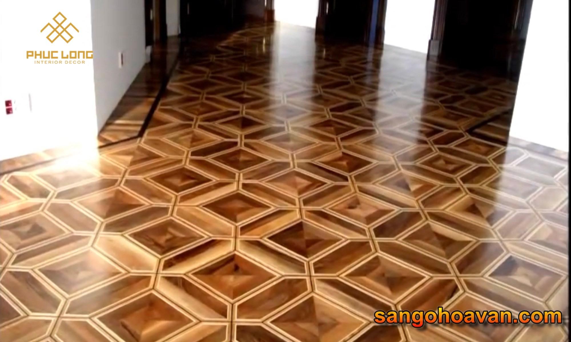 sàn gỗ hoa văn nghệ thuật sơn hệ uv